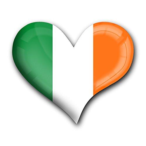 """Top Kühlschrank-Magnet aus Metall mit starkem Neodym-Magnetem und hochglänzender Kunstharzbeschichtung in Herz-Form """"Irland"""" von metALUm - tolles Geschenk für Irland - Fans"""