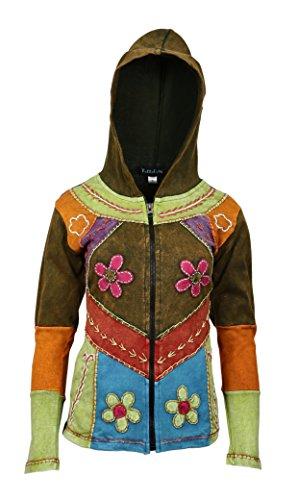 Mesdames multicolore veste en coton avec capuche et poche latérale Multicolore