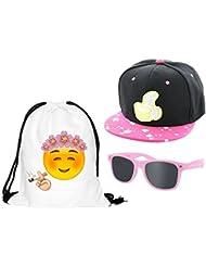 Kit ensemble de 3 accessoires Blanc pink noir : Sac , Casquette et lunettes (Outfit Set 8) pas cher convenables pour adultes et ados unisex fille garçon homme femme look Hip Hop cool sympa jeune
