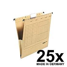 Falken UniReg A4 Hanging folders with Linen Edge Protectors, Pack of 5 25er Pack Brown