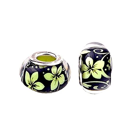 Bling Stars Cymbidium Flower Lampwork Murano Glass Bead Fits Pandora Charms Bracelet
