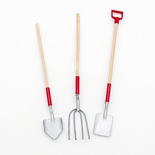 Odoria 1/12 Miniatur Gartengeräte Set - Forke Schaufel und Spaten mit Holzstiel Für Puppenhaus Zubehör Für Fee Garten (Miniatur-schaufel)