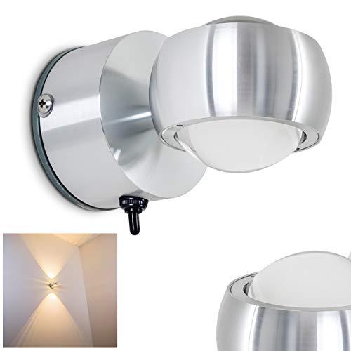 3 Kerze Wandleuchte (LED Wandlampe Florenz, runde Wandleuchte aus Metall u. Glas in Aluminium gebürstet, Wandspot 2-flammig mit Ein-/Ausschalter, 2 x 3 Watt, 480 Lumen insgesamt, 3000 Kelvin, IP44 für Badezimmer geeignet)