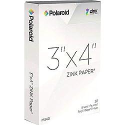 """Polaroid Z3X430 3""""x4"""" 30-Pack Blanc Papier Photos - Papiers Photos (Blanc, 30 Feuilles, GL10, Z340E.)"""