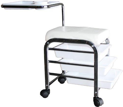 FIGARO Rollbarer Praxishocker mit Schwenktablett und entnehmbaren Farbe weiß
