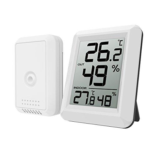 ORIA Thermometer Hygrometer, Innen Außen Thermometer Digital Temperatur und Luftfeuchtigkeit Monitor, Thermo Hygrometer mit Außensensor, Großem LCD Display, ℃/℉ Schalter, Ideal für Schlafzimmer, Büro,etc - Weiß - Innen-luftfeuchtigkeit