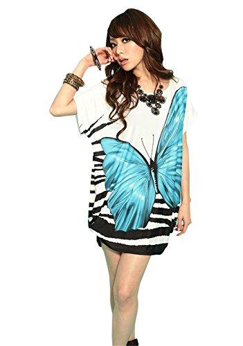 JOTHIN Neue europäische Fledermaus Ärmel Taille Kleid plus Dünger super- große Kleid Blau