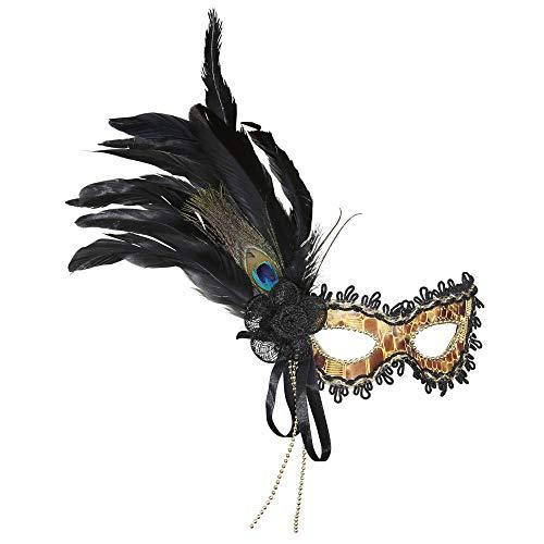 Feder Kostüm Augenmaske - Widmann 1794G - Augenmaske Schildkröte mit Dekorationen und Federn