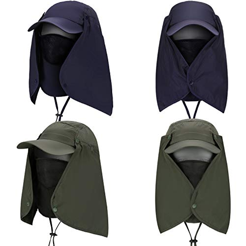 2 piezas Sombrero de sol plegable para exteriores