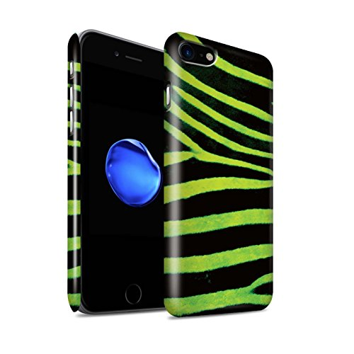 STUFF4 Glanz Snap-On Hülle / Case für Apple iPhone 8 / Gelb Muster / Zebra Tier Haut/Print Kollektion Grün