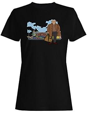 Moda, hombre, maleta, gracioso, vendimia, arte, ciudad camiseta de las mujeres yy7f
