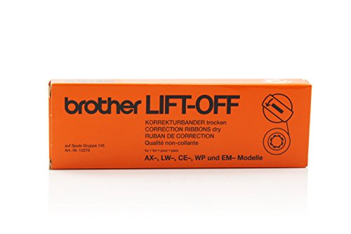 Original Brother 12270 Lift-off-Tape für AX 10, 100, 110, 12, 120, 130, 140, 145, 15, 18, 20, 210, 22, 220, 230, 24, 240, 245, 25, 250, 26, 28, 30, 300, 310, 320, 325, 33, 330, 340, 35, 350, 370, 40, 400, 410, 420, 425, 430, 440, 45, 450, 475, 500, 525, 550, 600, 625, 1900; CE 1050, 25, 30, 320, 333, 340, 35, 360, 380, 40, 400, 444, 45, 50, 500, 51, 550, 555, 560, 58, 60, 600, 61, 65, 650, 666, 68, 70, 700, 80; Correct-O-Ball 7000, 7200, 7300, 7800, 7900; CX 400, 440, 50, 60, 65, 80, 90, 95