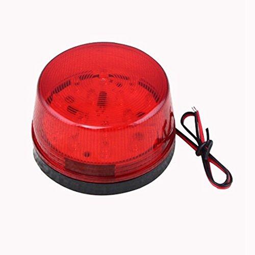 Cikuso 12v Alarme LED Flashing Strobe Lumiere pour systeme de securite Domestique Rouge