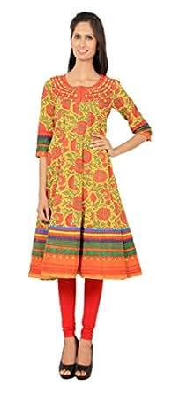 Rama Women's Cotton Printed Long Anarkali Kurta