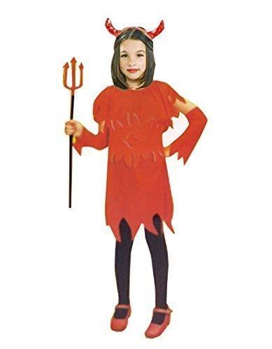 Girls Little Red Devil Kostüm Halloween Party Teufelshörner Fancy (4-6 Jahre