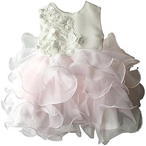 Decorazione floreale in raso rosa neonata Rosette Layered abito da