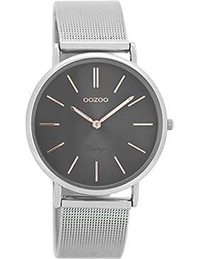 Oozoo Vintage Damenuhr Metallband 36 MM Silbergrau/Silberfarben C8145
