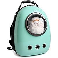 ZSY Astronauta Cápsula Mochila para Mascotas Aerolínea Aprobado Transparente Respirable Venthole Perro Portador de Gato Bolso portátil Viaje al Aire Libre Paseos Senderismo Maleta, Cyan