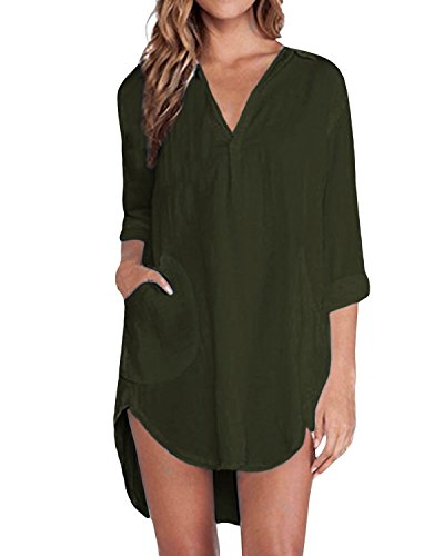 ZANZEA Damen Sexy Dünne Chiffon V-Ausschnitt Irregular Longshirt Lose Top Bluse Hemd (EU 52 / US 22W, Armeegrün)