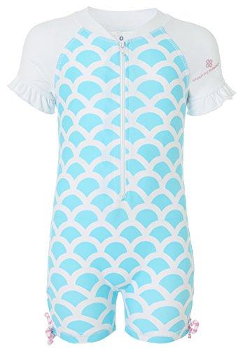 Snapper Rock Baby Mädchen & Knirpse UPF 50+ UV schützend warm Kurzarm Badeanzug für Kinder Blau/Weiß 6-12 Monate, 74-80cm Sonnenschutz Anzug Baby