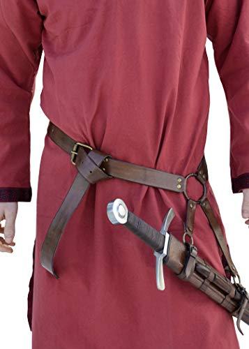 Mittelalter Schwertgürtel aus braunem Leder - Mittelalter Schwerthalter mit Gürtel von Battle-Merchant