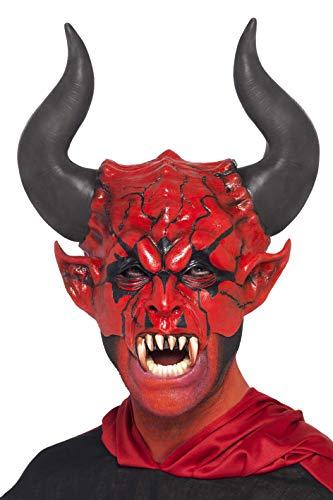 (Smiffys Herren Teufel Gesichts-Halbmaske, One Size, Rot, 38860)