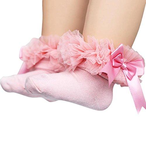 Socken Longra Baby Kinder Mädchen Prinzessin Bowknot Socke Spitze Rüsche Frilly Trim Knöchelsocken(0 -6Jahre) (11.5cm/0-2Jahre, Pink) (Crochet-baby-socken)