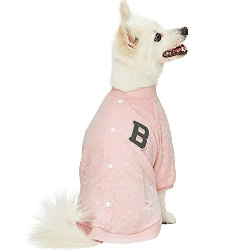 Blueberry Pet Weich & Angenehm Baseball Fan Lieblings-Blumenjacquard Pullover Hunde-Sweatshirt in Rosa, Rückenlänge 30cm, Einzelpackung Jacke für Hunde