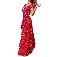 فستان طويل طويل ماكسي بياقة على شكل حرف V من Coolred للنساء فضفاض قصير الأكمام كاجوال ليوبارد احمر M