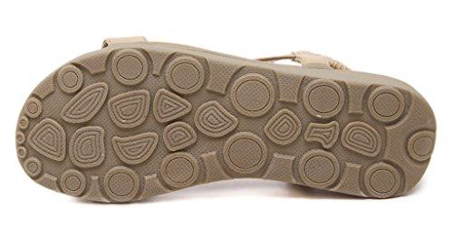 Fortuning's JDS Femme d'été simple et confortable élastique Sandale plate Abricot