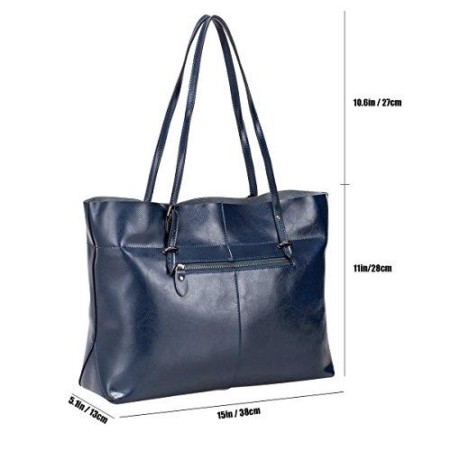 S-ZONE Damen Vintage Echtleder Tote Beutel Schultertasche Handtasche (Kaffee) Blau