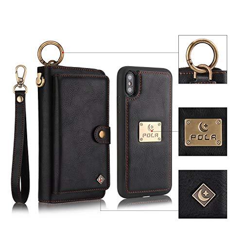 XHD-Persönlichkeit & Mode Telefon-Sets Premium Leder Wallet Case Hand Strap Reißverschluss Fall mit Abnehmbare dünne Rückseite für iPhone XS Max 6,5 Zoll 2018 Schutz (Color : Black)