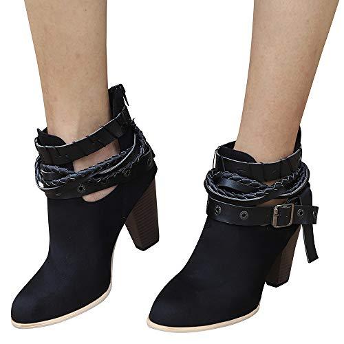 Geili Damen Chelsea Boots Pumps Kurzschaft Wildleder Stiefel mit Blockabsatz Frauen High Heels Schlüpfen Stiefeletten Gürtelschnalle Übergrößen Boots Ritterstiefel 36-42 -