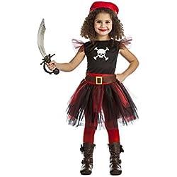 Disfraz para niña de pirata, tutú rojo y negro (5-6 años)