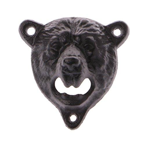 Lamdoo cast Iron Wall Mount Bear Head Teeth bite apribottiglie cucina birra apri New