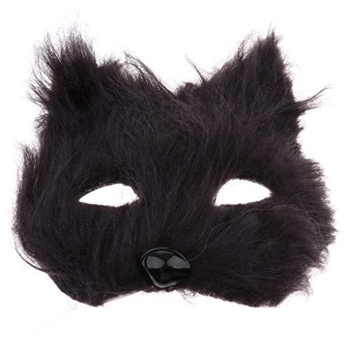 Katze Kostüm Schwarze Pelzige - IPOTCH Tierform Augenmaske Plüsch Cosplay Maske für Maskeraden Festival Kostüm Party Show, Farbewahl - Schwarzes Pelziges
