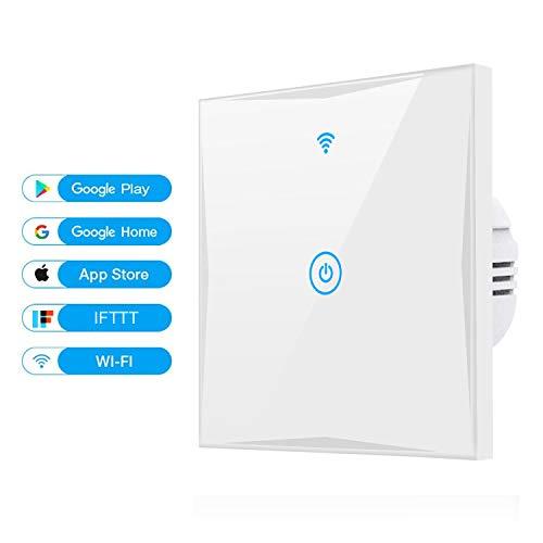 Alexa Smart Lichtschalter, SAIHAM 1-Weg-Wifi-In-Wall-Schalter arbeitet mit Amazon Alexa und Google Home, Timing-Funktion mit gehärtetem Glas Touchscreen, Steuern Sie Ihre Geräte von überall (1-weg) -