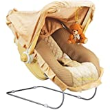 Goyal's 12 in 1 Premium Musical Baby Feeding Swing Rocker Carry Cot Cum Bouncer with Mosquito Net and Storage Box (Brown)