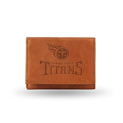 Rico NFL Geldbörse aus Leder, dreifach faltbar, Innenseite aus Kunstleder, Embossed Leather Trifold Wallet with Man Made Interior, braun, 5.75