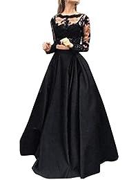 Dragon868 Vestit donna lungo due pezzi elegante neri pizzo fiori taglie  forti xl manica lunga estate fbbcfba9b8b