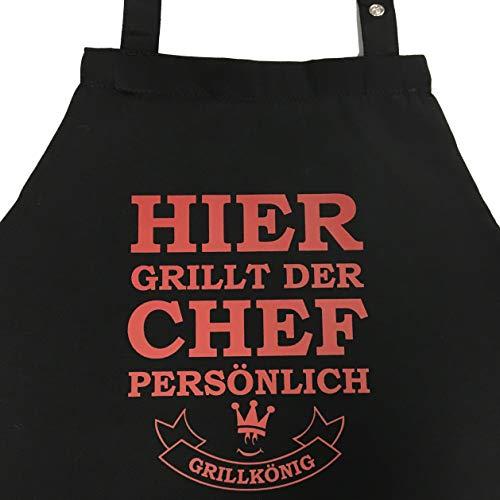 Hier grillt der Chef persönlich - Grillschürze, Kochschürze, Latzschürze mit verstellbarem Nackenband und Seitentasche - Grillkönig Edition