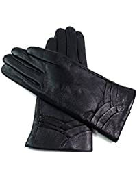 Ladies Womens Premium Quality Super Soft Genuine Leather Faux Fur Lined Gloves Overlap Detail Winter Warm