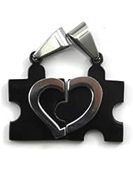 VANKER Dos forma de amor Corazón de la gente de la aleación Amor de los pares colgantes de los collares (Negro)
