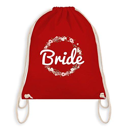 Shirtracer JGA Junggesellinnenabschied - Bride Blumenkranz - Unisize - Rot - WM110 - Turnbeutel I Gym Bag