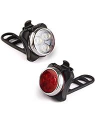 Eximtrade USB Rechargeable Vélo Bicyclette Lampe de Poche Lumière de Devant et Feu Arrière LED 4 Modes 100 Lumens Imperméable