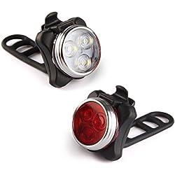 Eximtrade USB Recargable Bici Bicicleta Flash Luz Delantera y Luz de la Cola LED 4 Modos 100 Lúmenes Impermeable
