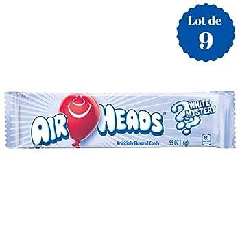 Airheads White Mystery - Mystère Blanc - Confiseries Américaines Fruitées - Lot de 9 Bonbons de 16 g