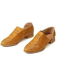 f4665f8c919 Zapatos de Vestir Mujer Planas Derby Transpirable Oxford Casual Fiesta  Sandalias Primavera Verano Calzado Tacón 3cm Negro Rosado 35…