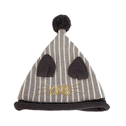 Ouneed® 3-36 mois Enfant Bonnet Pompon Tricote (Gris)