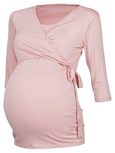 Happy Mama Femme. Top boléro maternité T-shirt chemisier d'allaitement. 458p Poudre Rose